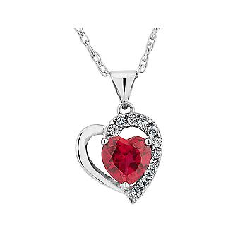 Lab-Created Ruby Heart Pendant Necklace with Created White Sapphire 1.90 Carat (ctw) in Sterling Silver with Chain