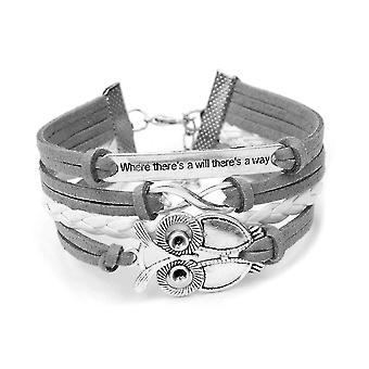 Infinity Christmas Owl Friendship Leather Charm Bracelet Gift including gift box