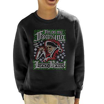 Bad Santa Im On My Lunch Break Christmas Knit Pattern Kid's Sweatshirt