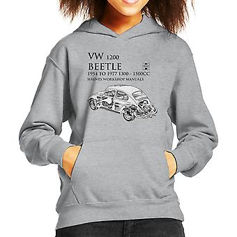 Haynes Workshop Manual 0039 VW 1200 Beetle Black Kid's Hooded Sweatshirt