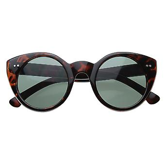 Modern Cateyes Vintage Inspired Circle Cat Eye Round Sunglasses w/ Metal Rivets