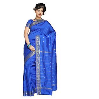Fortryllende blå kunst silke Saree Sari stof Indien gylden kant