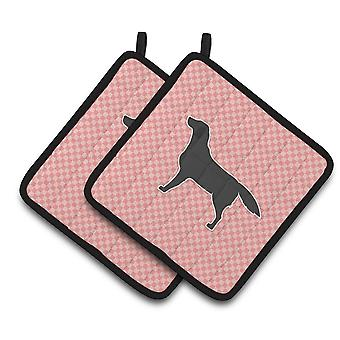 Svart Labrador Gjenerverve sjakkbrett rosa par grytekluter