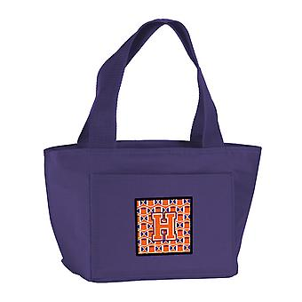 Letter H Football Orange, White and Regalia Lunch Bag