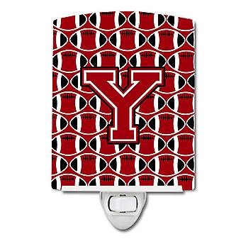 Letter Y Football Red, Black and White Ceramic Night Light
