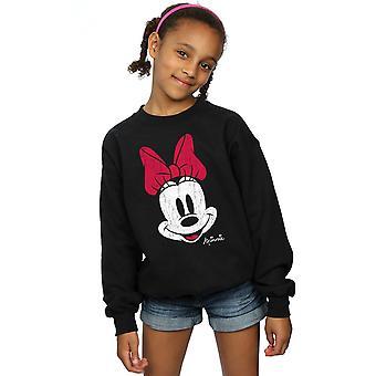 Disney Girls Minnie Mouse Distressed Face Sweatshirt