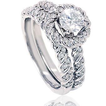 1 1 / 2ct Diamond Halo forlovelsesring sett 14K hvitt gull
