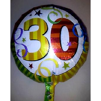 Foil Balloon 30th Multi Coloured