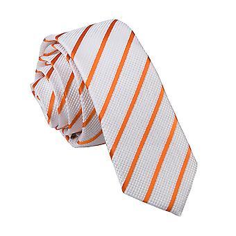 White & Orange Single Stripe Skinny Tie
