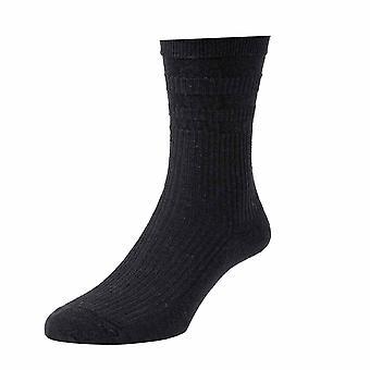 4 Pair Pk Hj Hall Hj90 Wool Rich Softop Loose Top Non Elastic Socks 4-7 Black