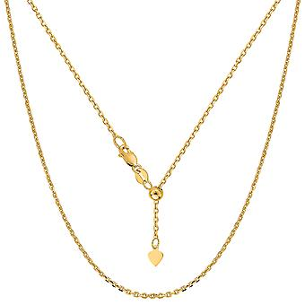 """14 ك الكابل قابل للتعديل الذهب الأصفر سلسلة قلادة، 0.9 مم، 22 """""""