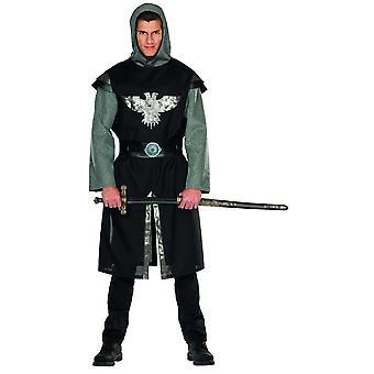 Ridder kostume sort sølv mænds karneval runde bord slot middelalderlige kriger