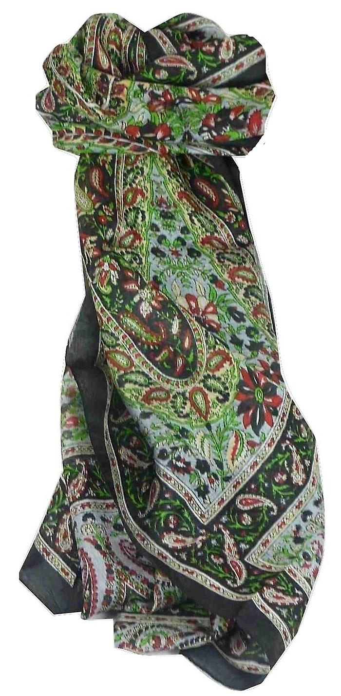 Mulberry Silk Traditional Long Scarf Purna Black by Pashmina & Silk