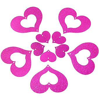 TRIXES 100PCS Pack Hot Pink Glitter Heart Pendant Ribbon Decorations