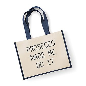Large Jute Bag Prosecco Made Me Do It Navy Blue