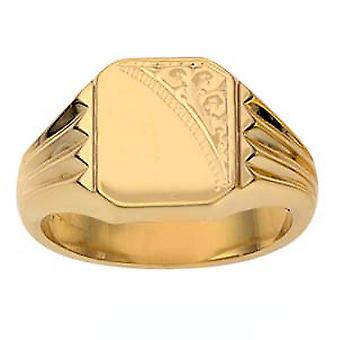 9ct Gold 12x11mm gents engraved rectangular Signet Ring Size Z