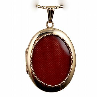 9ct Gold 35x26mm plain oval family Locket with a belcher Chain 24 inches