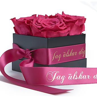 JAG älskar dig Flowerbox with 4 preserved roses, pink and satin ribbon shelf life 3 years