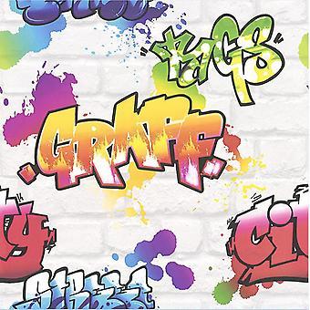 Graffiti Wallpaper Paint Splash efecto de ladrillo textura tipografía blanco Multi