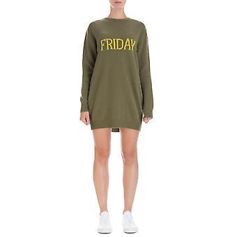 Alberta Ferretti 048566021427 Women's Green Wool Dress