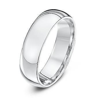 Star Wedding Rings Silver Heavy Court Shape 6mm Wedding Ring