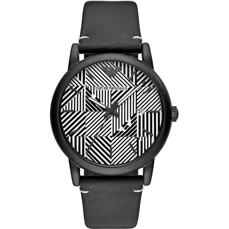 Emporio Armani Mens Gents Black White Face Wrist Watch AR11136