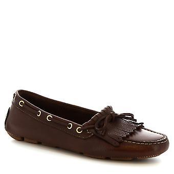 Leonardo kengät Naisten käsintehty vene mocassins tummanruskea vasikka nahka