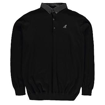 Kangol Mens Malax Knit Polo Shirt Long Sleeve Top Cotton Button Placket Stretch