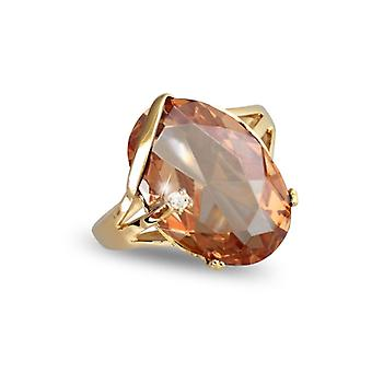 Gold Plated Ring With Pierre