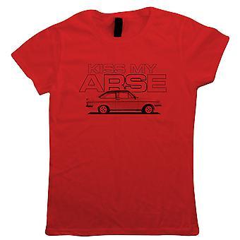 Kiss My Arse Escort Mk2 RS2000, Womens T-Shirt - Funny Motoring Gift Sua Mãe