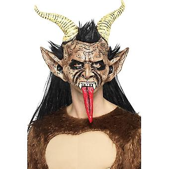 Beast/Krampus Demon Mask Brown,Overhead/Hair & Horns,Halloween Fancy Dress