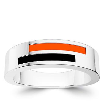 Oklahoma State University Sterling Silver Asymmetric Enamel Ring In Black and Orange