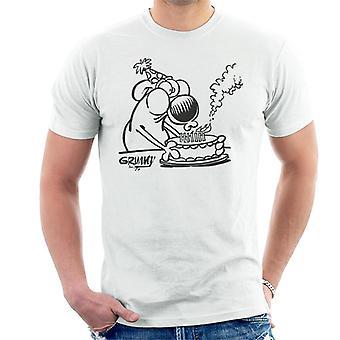 Grimmy fødselsdagskage T-shirt til mænd