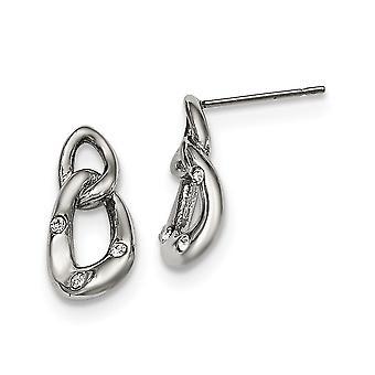 נירוסטה פוסט עגילים מלוטשים שתי לולאה 3 קריסטל ארוך טיפה לנפנף עגילים תכשיטים מתנות לנשים