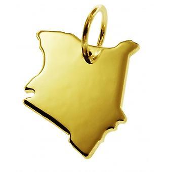 Hänge karta kedja hänge i guldgult-guld i form av KENIA