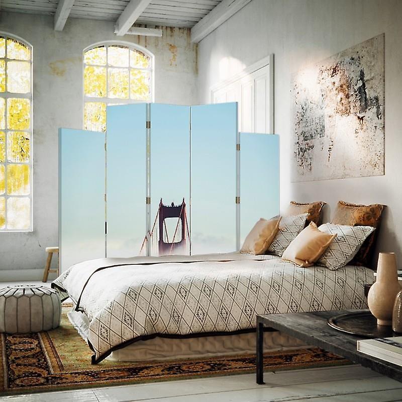 Diviseur de pièce décorative, 5 panneaux, toile, pont dans les nuages 2