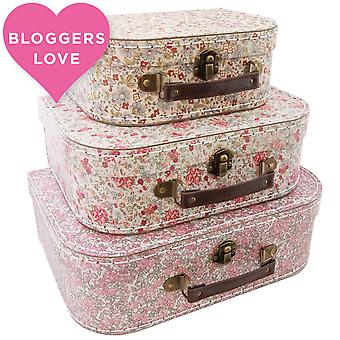 Sass & Belle Set Of 3 Vintage Floral Suitcase