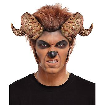 Curled Beast Monster Demon Devil Halloween Mens Costume Headpiece Horns