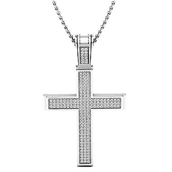 Dazzlingrock Collection 0.45 Carat (ctw) 10K Round Diamond Men's Religious Cross Pendant 1/2 CT (Silver Chain Included), White Gold