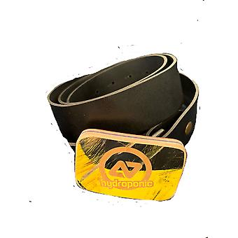 Hydroponic leather belt with skate beck buckle