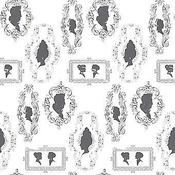 Black White Women Silhouettes Wallpaper Vintage Scroll Paste Wall Galerie