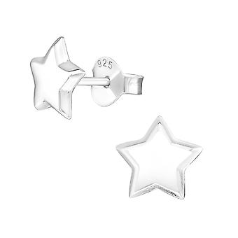 Star - 925 Sterling Silver Plain Ear Studs - W19237X