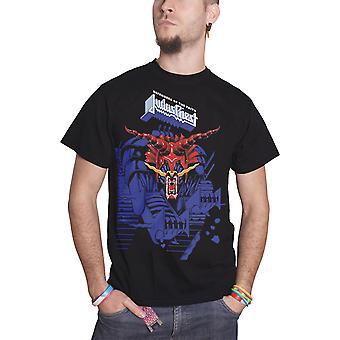 Judas Priest T Shirt Defenders of the Faith Blue Logo Official Mens New Black