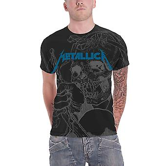 Metallica T Shirt Japanese Justice for All Official Mens Black allover print