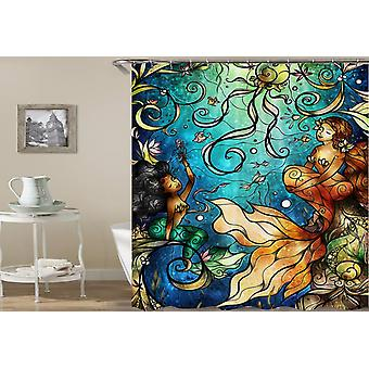 Stained Glass Mermaid Shower Curtain