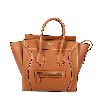 Celine Mini Luggage Bag in Smooth Saddle Brown Calfskin Leather