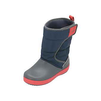 Crocs LodgePoint Snow Boot K Kids Boys Boots Blue Lace Boots
