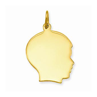 14k Gold Plated Polished back Large Polished Engravable Boys Head Charm Pendant Necklace Jewelry Gifts for Women