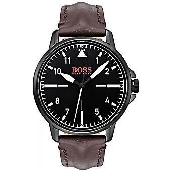 Hugo Boss Orange 1550062 - orologio uomo nero in acciaio custodia in pelle marrone