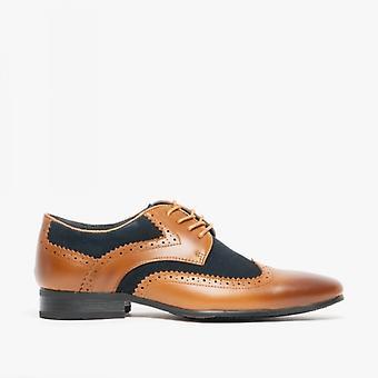 Voorzijde Turijn mens lederen Suede Brogue schoenen Tan/Navy